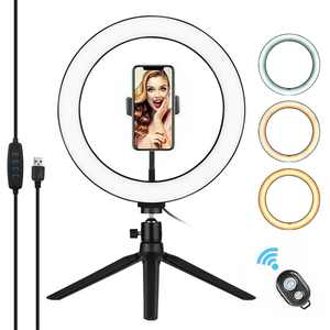 """10"""" LED Ring Light with Tripod Stand Phone Holder Remote Control 3200K-5500K Dimmable Table Camera Light Lamp 3 Light Modes & 10 Brightness Level"""