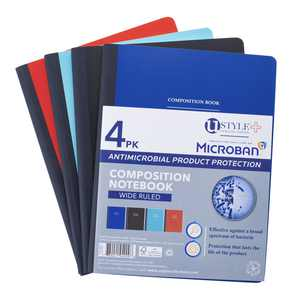 U Style Antimicrobial Composition Book with Microban, 100 Sheets, Wide Ruled, 4 Pack