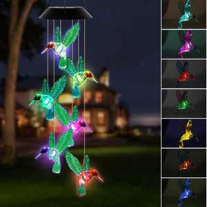 Solar Changing Color Hummingbird Wind Chime, TSV Solar Powered LED Hanging Lamp Windchime Light for Outdoor Indoor Gardening Yard Pathway