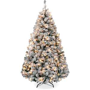 Best Choice Products 4.5ft Pre-Lit Holiday Christmas Pine Tree w/ Snow Flocked Branches, 200 Warm White Lights