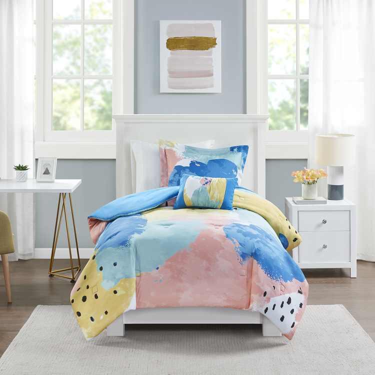 Mainstays Multi-Color Pastel Brush Strokes 3-Piece Comforter Set, Twin/Twin XL