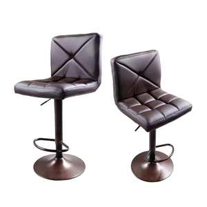 Zimtown Bar Stools Set of 2  Swivel PU Leather Chairs Adjustable Barstools Hydraulic Chair Coffee