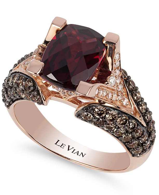 Raspberry Rhodolite Garnet (3 ct. t.w.), Chocolate Diamonds (1-1/5 ct. t.w.) and White Diamond Accent Ring in 14k Rose Gold