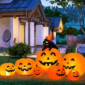 Costway Halloween 7.5 FT Inflatable Pumpkin Combo Decoration w/ Witch Black Cat