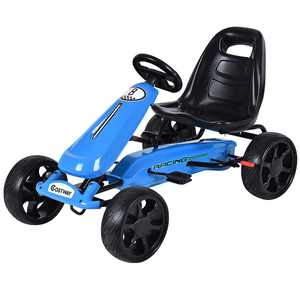 Costway Xmas Gift Go Kart Kids Ride On Car Pedal Powered Car 4 Wheel Racer Toy Stealth Outdoor