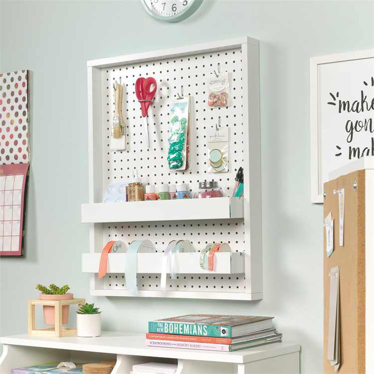 Sauder Craft Pro Series Wall Mounted Pegboard with Trays, White Finish