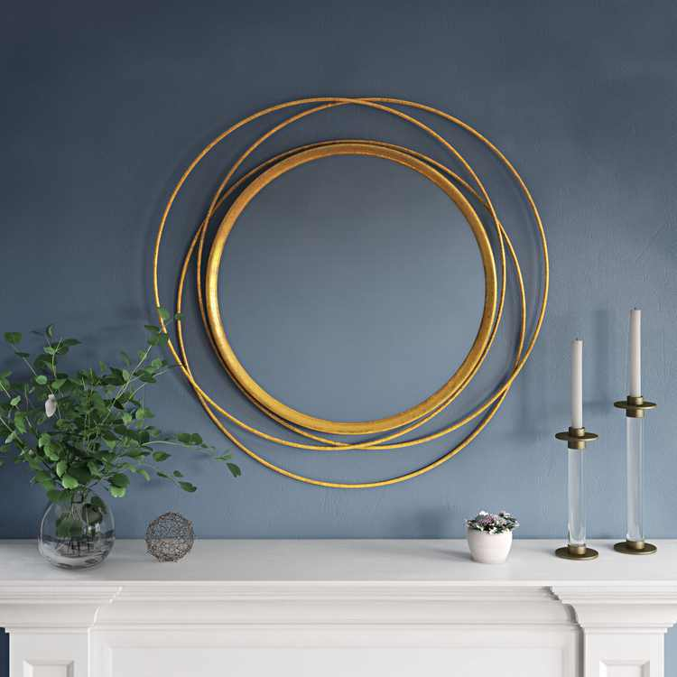 """Mia 32"""" Round Wall Mirror, Gold"""