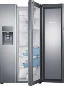 Samsung - 21.5 Cu. Ft. Side-by-Side Counter Depth Fingerprint Resistant Refrigerator with Food ShowCase - Stainless steel