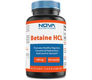 Nova Nutritions Betaine HCL 648 mg 250 Capsules