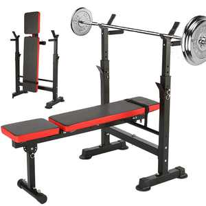 Generic Folding Weight Bench with Barbell Rack Lifting Press Gym Adjustable Incline Multifunctional Workout Station
