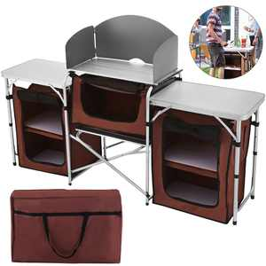 VEVOR Portable Camping Kitchen Table with 3 Storage Organizer, Aluminum Windscreen Folding Cooking Table Easy-to-Clean, Outdoor Camp Kitchen for BBQ, Party and Picnic