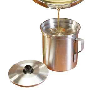 Oil Strainer, Bacon Grease Storage Pot, Aluminum, 32 Ounces