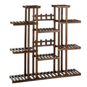 Ktaxon 11-Tier Wood Flower Plant Stand for Indoors & Outdoors