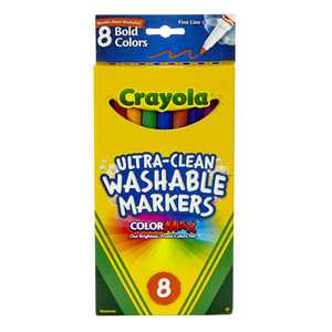 Crayola Washable Marker Set, 8-Colors, Fine, Bold