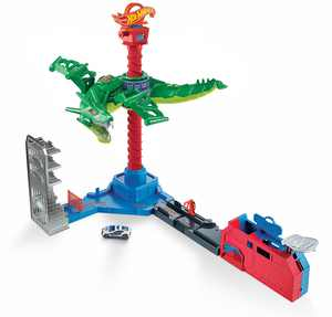 Hot Wheels City Air Attack Robo Dragon Play Set Motorized With Different Sounds and 1 Hot Wheels Car