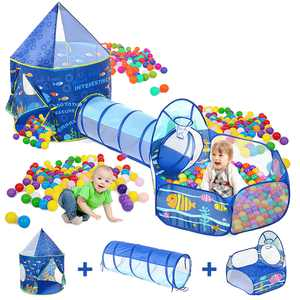 3 in 1 Kids Play Tent with Basketball Hoop, Children Play House with Crawling Tunnel Ball Pit Indoor & Outdoor Large Playhouse Toy Gift for Boys & Girls, Kids Toddlers & Baby