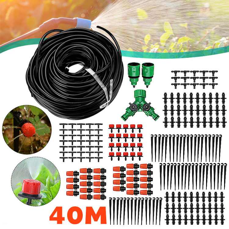 10M/33Ft Outdoor Misting Cooling System Garden  Patio Irrigation Water Sprinkler Hose Outdoor Mist Cooling Spray Tool 17pcs Brass with Stainless Nozzles