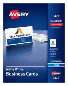 "Avery 2"" x 3.5"" Business Cards, Sure Feed, 1,000 Cards (8471)"
