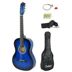 "Zeny Blue Acoustic Guitar for Starter Beginner Music Lovers Kids Gift 38"" 6-String Folk Beginners Acoustic Guitar With Gig bag, Strap, Tuner and Pick"