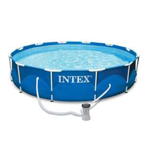 """Intex 12' x 30"""" Metal Frame Set Above Ground Swimming Pool with Filter 