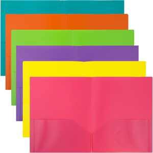 JAM Plastic 2 Pocket School POP Folders, Assorted Fashion Colors, 6/Pack