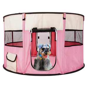 """HOBBYZOO 40"""" Folding Pet Dog Cat Tent Exercise Playpen Soft Cage Fence for Travel Outdoor Pink"""