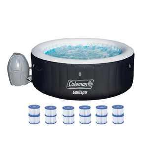 Coleman SaluSpa 4 Person Inflatable Hot Tub Spa + 12 Filter Cartridge Refills