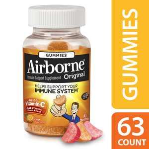 Airborne Orange Gummies, 1000 Milligram Vitamin C, Immune Support, and Antioxidant Supplements, 63 Count