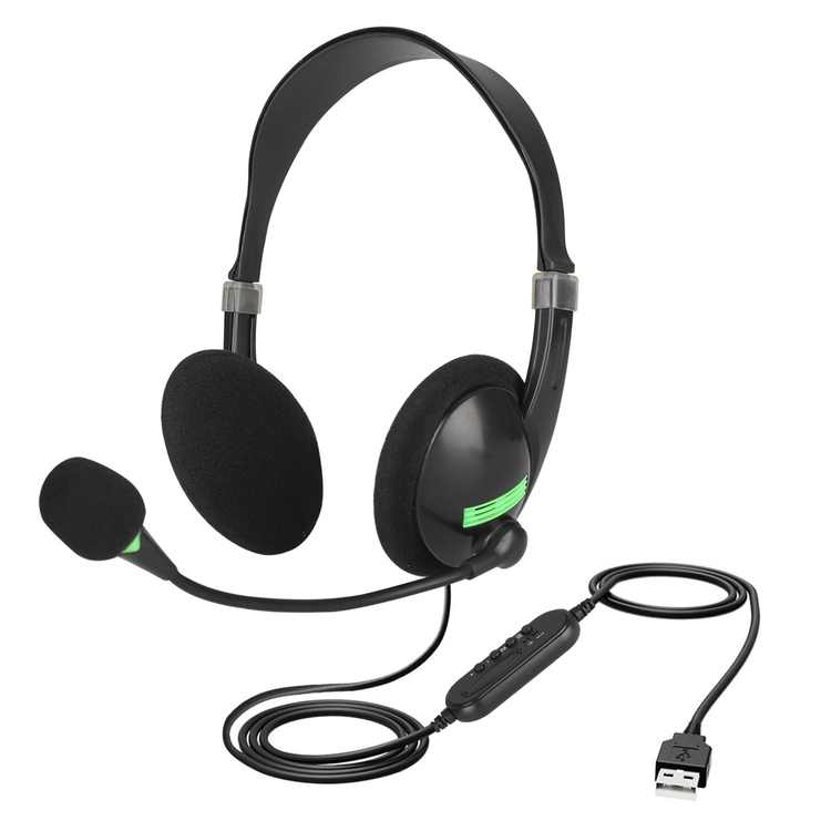 USB Headset with Microphone, Over-The-Head Computer Headphone for PC, 270 Degree Boom Mic for Right and Left Ear, Comfort-fit Call Center Headsets with in-Cord Volume Control