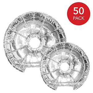 Electric stove burner covers (50 pack) disposable aluminum foil 6 inch and 8 inch round burner cover liners