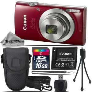 Canon PowerShot ELPH 180 Digital Camera (Red) 1096C001 8X Optical Zoom -16GB Kit