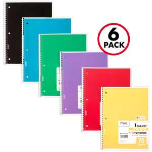 Mead Spiral Notebook, 1 Subject, Wide Ruled, 70 Sheets, 6 Pack (73063)