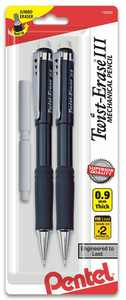 Pentel Twist-Erase III Mechanical Pencil, (0.9mm) with (2) Eraser Refills 2-Pk