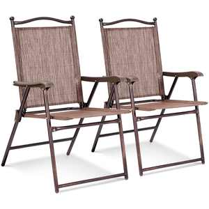 Costway Set of 2 Patio Folding Sling Back Chairs Camping Deck Garden Beach Brown