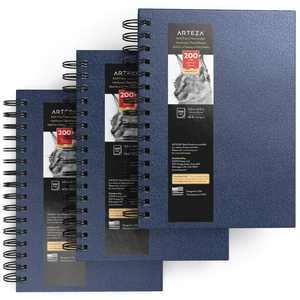 """Arteza Sketchbook, Spiral-Bound Hardcover, Blue, 5.5"""" x 8.5"""", 200 Pages of Paper Each - 3 Pack"""