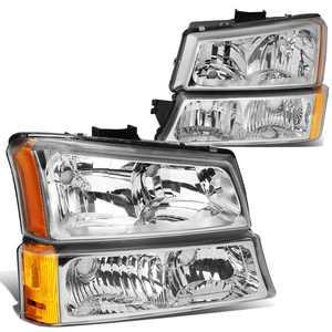 For 2003 to 2006 Chevy Silverado Avalanche 4Pcs Headlight+Bumper Lamp Chrome Housing Amber Corner 1 Gen 04 05 Left + Right
