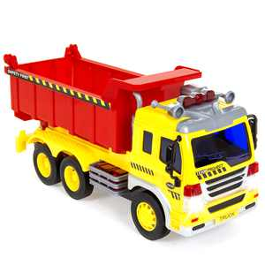 Best Choice Products 1/16 Scale Kids Push-and-Go Friction Powered Garbage Dump Truck Toy w/ Lights and Sounds
