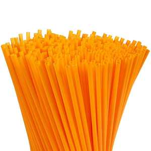 300-Pack Plastic Orange Disposable Party Drinking Straws, Extra Long Size, 10 inches