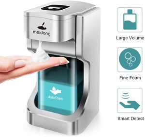 Touchless Soap Dispenser 500mL/17oz Automatic Foam Dispenser with USB Charging & Infrared Motion Sensor for Kitchen Bathroom Home Office Hotel Toilet School
