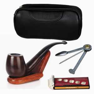 Juslike Tobacco Pipe Set Luxury Wood Smoking Pipe with Pipe Stand and Other Smoking Accessories & Gift Box Perfect Festive Gift