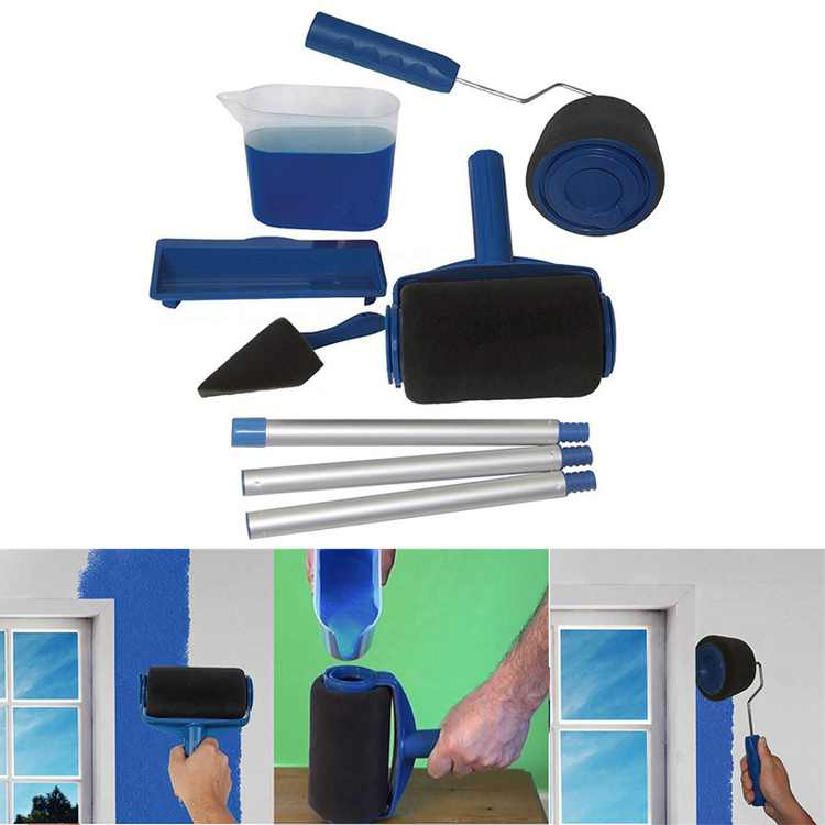 TOPCHANCES Paint Roller Kit Paint Runner Set Including Paint Roller Tray, Paint Roller Extension Pole, Paint Roller Edger Wall Printing Tool Set