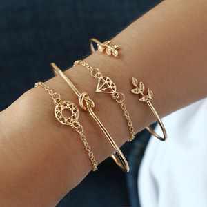 Outtop 4Pcs Elegant Women s Crystal Rose Flower Bangle Cuff Bracelet Jewelry Gold Set