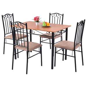 Costway 5 PC Dining Set Wood Metal Table and 4 Chairs Kitchen Breakfast Furniture