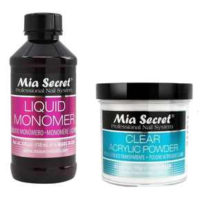 MIA SECRET PROFESSIONAL LIQUID MONOMER 4 oz + CLEAR ACRYLIC POWDER 4 oz NAIL SYSTEM & 1 PAIR OF EARRINGS