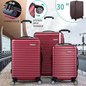 """Lowestbest Luggage Set, 20""""+24""""+28"""" Traveling Luggage, Portable Large Capacity Luggage Bags for Travel, 3Pcs Rolling Traveling Storage Suitcase with Wheels, Red"""