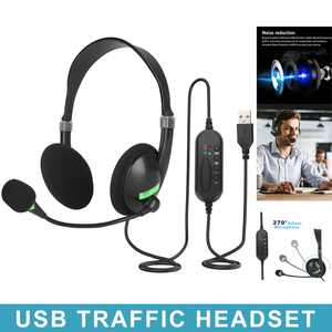 USB PC Headset with Microphone Noise Cancelling & Call Controls, USB Computer Headphones fits for PC Business Skype Softphone Call Center Office, Clear Chat, Ultra Comfort