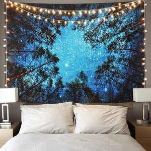 """Forest Starry Tapestry, Home 3D Forest Tapestry Tree Night Sky Tapestry, Living Room Bedroom Decoration Tapestry, Mattress, Tablecloth (51.2""""X59.1"""", Forest stars)"""