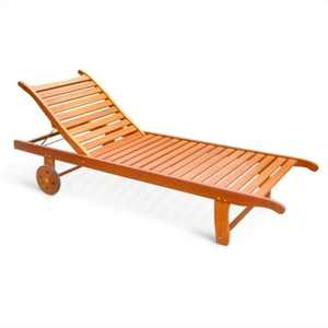 Single Outdoor Wood Chaise Lounge