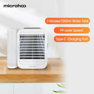 Microhoo USB Air Conditioner Fan 99 Speed Touch Screen 3 In 1 Mini Water Personal Cooling Fan Timing Cooler Humidifier Type-C 1000ml 6W