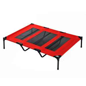 "PawHut 48"" x 36"" Elevated Folding Dog Cot Cooling Summer Pet Bed - Red"
